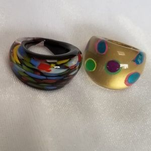 Two Vintage Lucite Bubble Rings